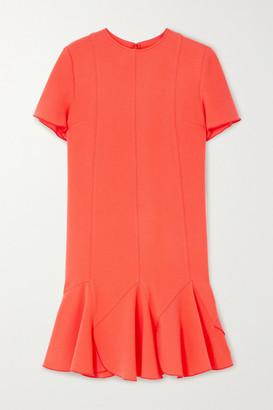 Victoria Victoria Beckham Ruffled Crepe Mini Dress - Coral