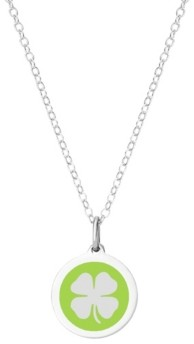 """Auburn Jewelry Mini Clover Pendant Necklace in Sterling Silver and Enamel, 16"""" + 2"""" Extender"""