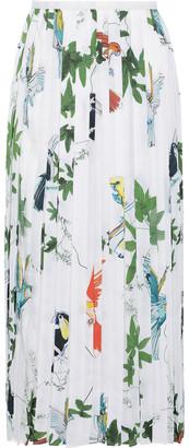 Agnona Pleated Printed Satin-twill Midi Skirt