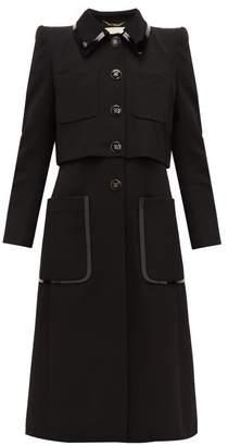Fendi Pvc Trim Single Breasted Wool Twill Coat - Womens - Black