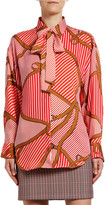 MSGM Camicia Striped Saddle-Print Tie-Neck Shirt