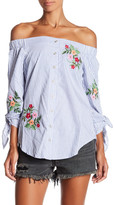 Fifteen-Twenty Fifteen Twenty Stripe Embroidered Off the Shoulder Blouse