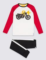 Marks and Spencer Pure Cotton Bike Print Pyjamas (3-16 Years)