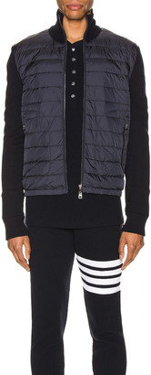 Moncler Knitted Sweater Jacket in Navy | FWRD