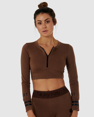 Nicky Kay - Women's Brown Tops - Long Sleeve Compression Crop - Size One Size, XS at The Iconic