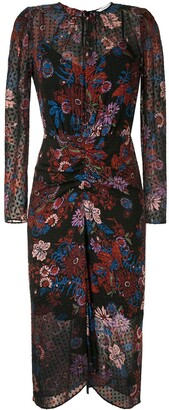 Veronica Beard Ruched Floral Print Dress