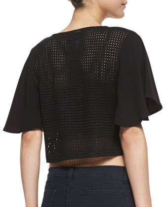 Autograph Addison Pike Mixed Media Crop Top, Black