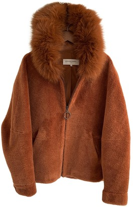 Gerard Darel Brown Shearling Coat for Women