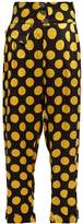 DURO OLOWU Large polka-dot print silk-satin cropped trousers