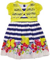 Nannette Toddler Girl Lace Cardigan & Poplin Striped Flower Dress