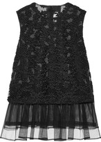 Noir Kei Ninomiya Pleated Embroidered Tulle Top - Black