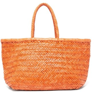 DRAGON DIFFUSION Triple Jump Large Woven-leather Basket Bag - Orange