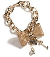 GUESS New Logo Gold Crystal Heart Charm Bracelet+mesh Bow Jewellery