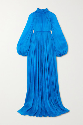 Carolina Herrera Pleated Crepe De Chine Gown - Blue