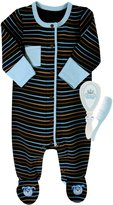 Stephan Baby Blue Dog Cotton Knit Footie and Little Prince Brush and Comb Gift Set