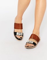 Park Lane Jewel Slide Leather Flat Sandals