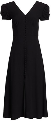 Saloni Margo Puff-Sleeve A-Line Midi Dress
