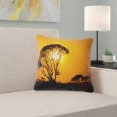 "Landscape Printed Beautiful African Sunset in Savannah Throw Pillow East Urban Home Size: 16"" x 16"", Product Type: Throw Pillow"