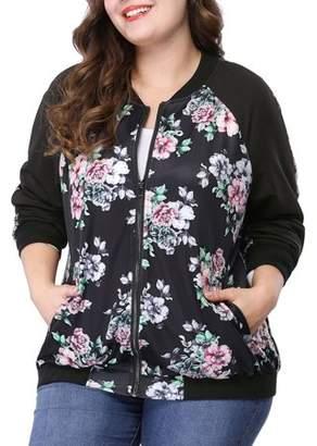 Unique Bargains Women's Plus Size Zipper Raglan Sleeves Floral Bomber Jacket