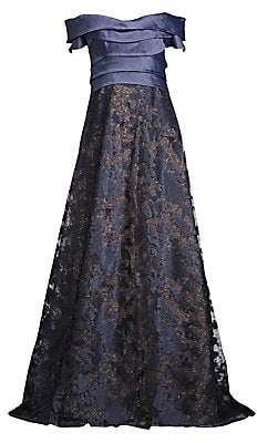 Rene Ruiz Collection Women's Off-The-Shoulder Embroidered Metallic Ball Gown