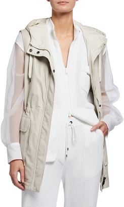 Brunello Cucinelli Reversible Leather Taffeta Hooded Vest