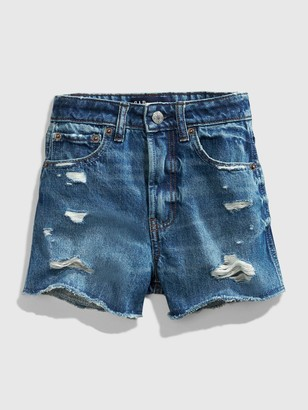 Gap Teen Distressed Medium Wash Denim Shorts