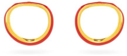 Thumbnail for your product : Charlotte Chesnais Naho Enamel & 18kt Gold-vermeil Clip Earrings - Orange Gold