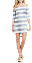 Chelsea & Violet Off-the-Shoulder Button Front Stripe Dress