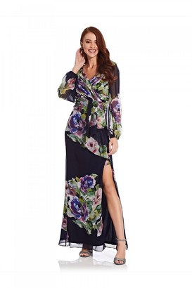 Adrianna Papell Floral Printed Chiffon Gown In Navy Multi