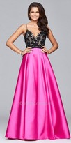 Faviana A-line Mikado Beaded Halter Prom Gown