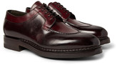 Santoni Split-Toe Burnished-Leather Derby Shoes