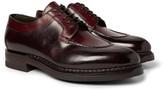 Santoni - Split-toe Burnished-leather Derby Shoes