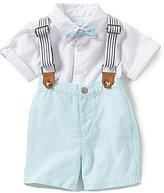 Edgehill Collection Baby Boys Newborn-24 Months Textured Short-Sleeve Shirt, Suspenders & Shorts Set