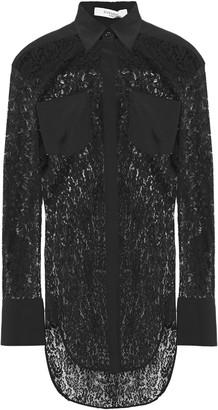 Givenchy Crepe-paneled Cotton-blend Lace Shirt