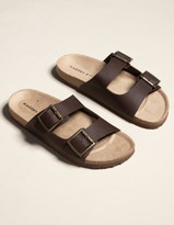 Madden-Girl Double Buckle Womens Chocolate Slide Sandals