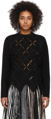 Proenza Schouler Black Open Argyle Knit Sweater