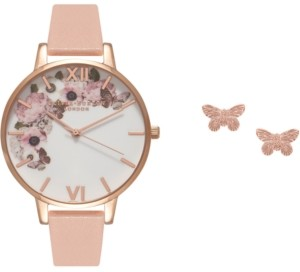 Olivia Burton Women's Pink Leather Strap Watch 38mm Gift Set