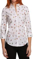 Paperwhite Printed Shirt - Stretch Cotton, 3/4 Sleeve (For Women)