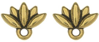 Overstock TierraCast Pewter Earring Post, Lotus Flower with Ring 9.5x11.5mm, 1 Pair, Antiqued Gold Plated