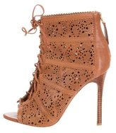 Alice + Olivia Lace-Up Laser Cut Booties