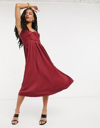 ASOS DESIGN Premium cami pleated midi dress with ladder trim detail in oxblood