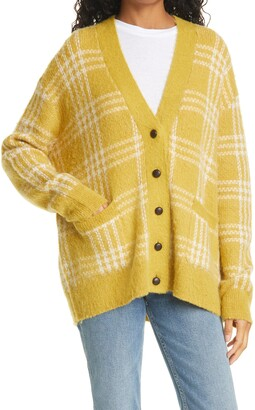 RE/DONE '90s Oversize Check Wool & Alpaca Blend Cardigan