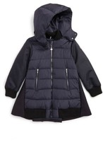 Moncler Girl's Blois Mixed Media Down Coat