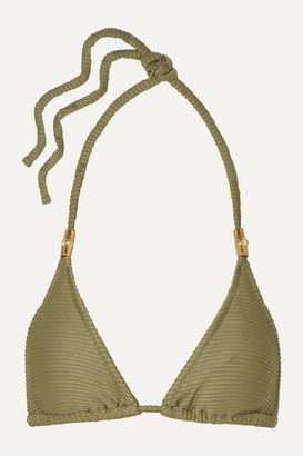 Heidi Klein Ribbed Triangle Bikini Top - Army green