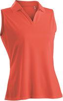Asstd National Brand Luster Sleeveless Plus Sleeveless Knit Polo Shirt Plus