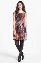 Betsey Johnson Digital Print Chiffon Fit & Flare Dress (Online Only)