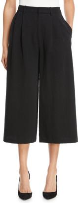 Co 2-Pleat Wide-Leg Cotton-Blend Culotte Pants
