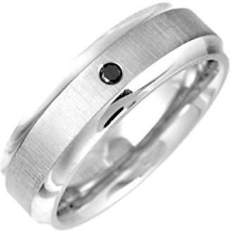 Theia Titanium Flat Court Shape 0.05ct Round Treated Black Diamond Rub Over Set Matt Centre 7mm Ring - Size Q