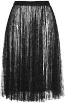 Giambattista Valli High Waist Pleated Lace Skirt