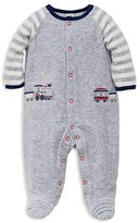 Little Me Infant Boys' Train Stripe Velour Footie - Sizes 3-9 Months